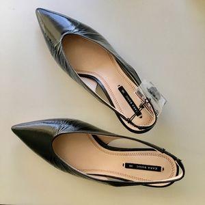 Zara Black Slingback Kitten Heels Size 36 6